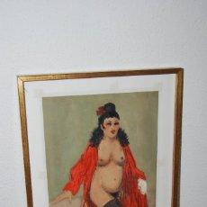 Arte: ACUARELA ORIGINAL DE RAMÓN JOU SENABRE - PROSTITUTA - DIBUJO ERÓTICO - AÑOS 40. Lote 57592191