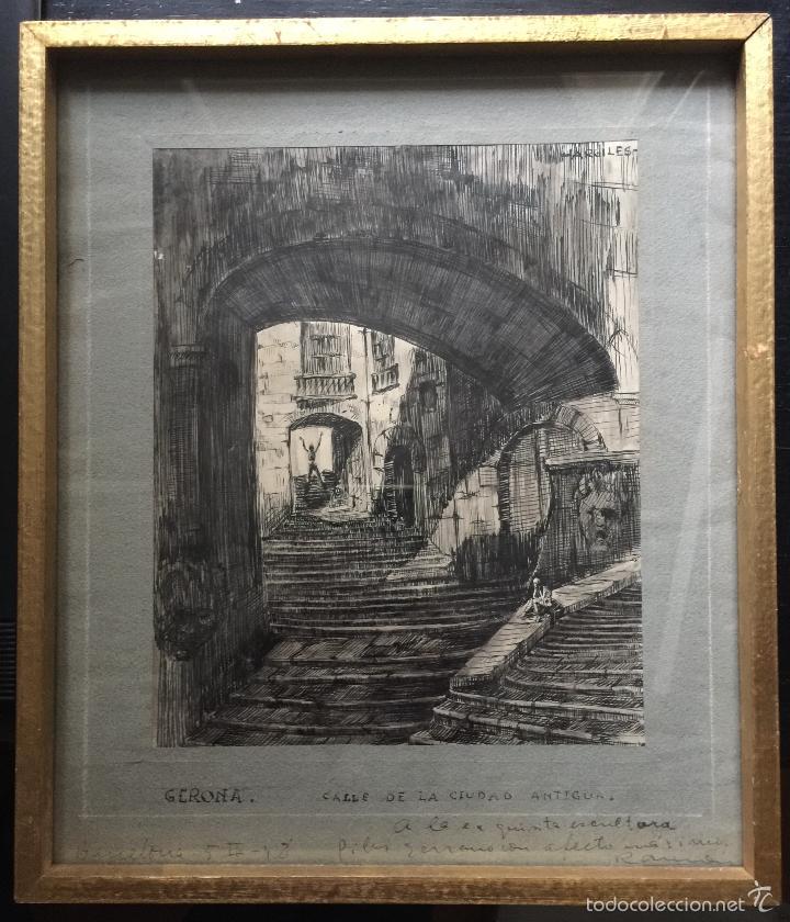 RAMON ARGILES FONTOVA BUEN DIBUJO A TINTA SOBRE PAPEL GIRONA (Arte - Acuarelas - Contemporáneas siglo XX)