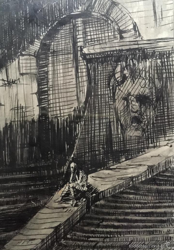 Arte: RAMON ARGILES FONTOVA BUEN DIBUJO A TINTA SOBRE PAPEL GIRONA - Foto 2 - 57762362