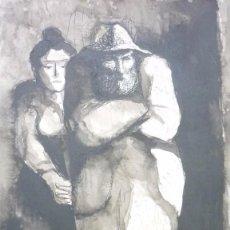 Arte: MANOLO RUIZ PIPÓ. (GRANADA 1929-1999). CAMPESINOS. DIBUJO TÉCNICA MIXTA. ORIGINAL. 50 X 30. Lote 57889142