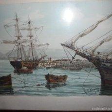 Arte: ACUARELA DE BARCOS. DEL PINTOR G.ARRUZA. Lote 57932319