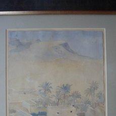Arte: GASTON CASTELLO, ALICANTE 1903-1986. BOU-SAADA 1952. RARA ACUARELA DE SU EPOCA AFRICANA.. Lote 58206355
