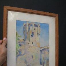 Arte: 2 ACUARELAS ANTIGUAS A . GAS A CATALOGAR TORRE DE CLAVEROS SALAMANCA. Lote 58230109