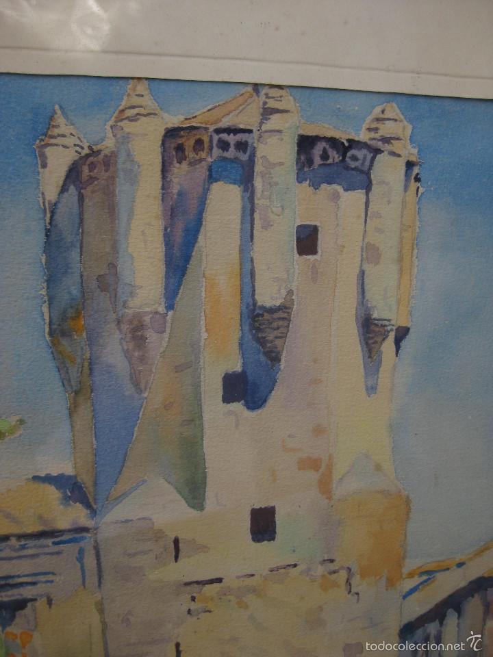 Arte: 2 ACUARELAS ANTIGUAS A . GAS A CATALOGAR TORRE DE CLAVEROS SALAMANCA - Foto 2 - 58230109