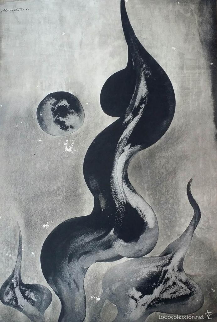 ALFREDO VILA MONASTERIO: GOUACHE Y TINTA, 1964 / FIRMADO A MANO (Arte - Acuarelas - Contemporáneas siglo XX)