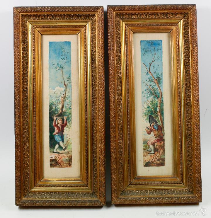 pareja de acuarelas antiguas con marcos de époc - Comprar Acuarelas ...