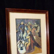 Arte: EXPRESIONISMO. GOUACHE SOBRE PAPEL ENMARCADO 62,5X52 CM. SIN FIRMA. AÑOS 60. MUY INTERESANTE. Lote 58549273