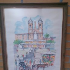 Arte: CUADRO DIBUJO ACUARELA VINTAGE PLAZA DE ESPAÑA ROMA. Lote 58745088