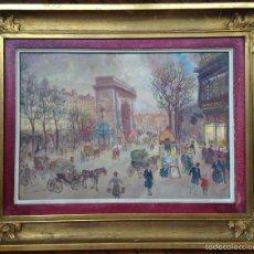 Arte: HENRY GRENIER (1882-1940) PINTOR FRANCES PINTOR ACUARELA CARTÓN PORTE SAINT-DENIS PARIS ARCO TRIUNFO. Lote 59512515