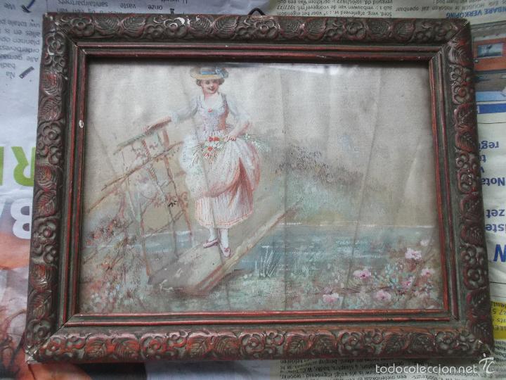PINTURA (GOUACHE) DE MUJER, PARTE DE UN ABANICO - PINTADO EN SEDA - SIGLO XIX (Arte - Acuarelas - Modernas siglo XIX)