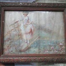 Arte: PINTURA (GOUACHE) DE MUJER, PARTE DE UN ABANICO - PINTADO EN SEDA - SIGLO XIX. Lote 60185519