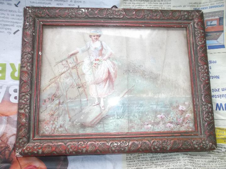 Arte: Pintura (gouache) de mujer, parte de un abanico - pintado en seda - Siglo XIX - Foto 2 - 60185519