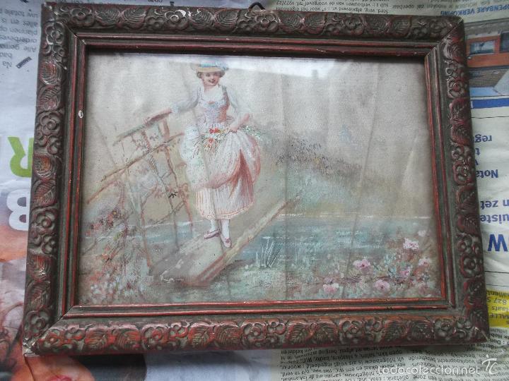 Arte: Pintura (gouache) de mujer, parte de un abanico - pintado en seda - Siglo XIX - Foto 3 - 60185519