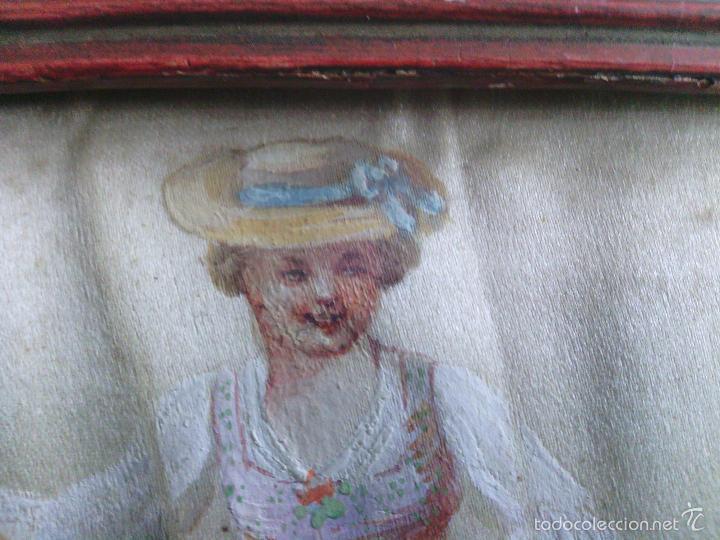 Arte: Pintura (gouache) de mujer, parte de un abanico - pintado en seda - Siglo XIX - Foto 4 - 60185519