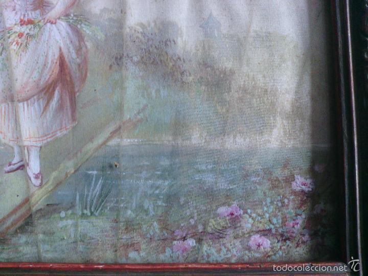 Arte: Pintura (gouache) de mujer, parte de un abanico - pintado en seda - Siglo XIX - Foto 7 - 60185519