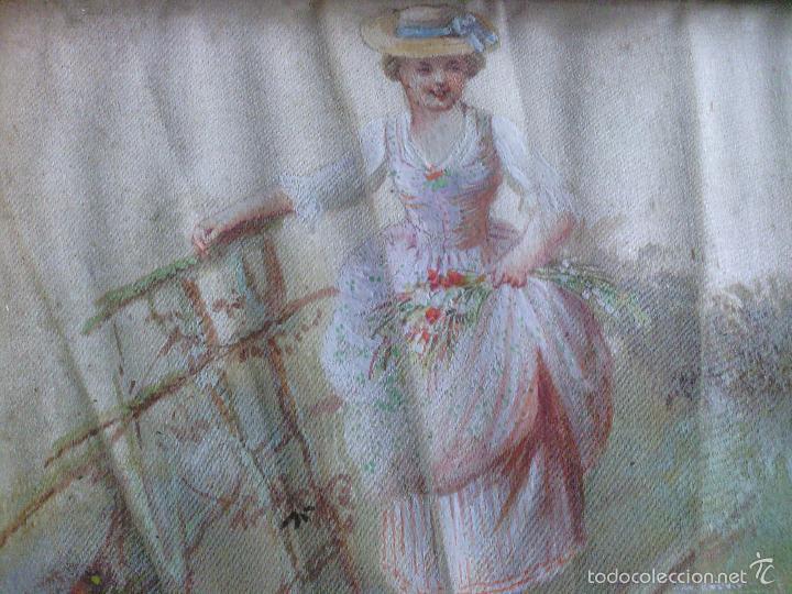 Arte: Pintura (gouache) de mujer, parte de un abanico - pintado en seda - Siglo XIX - Foto 8 - 60185519