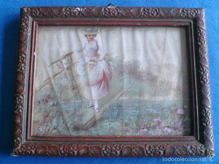 Arte: Pintura (gouache) de mujer, parte de un abanico - pintado en seda - Siglo XIX - Foto 9 - 60185519