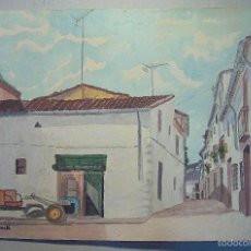 Arte: ACUARELA PUEBLO , CASAS RURALES, CON TRACTOR, FIRMADO FRANCESC ARESTÉ . Lote 60408827