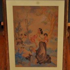 Arte: MONTSERRAT BARTA PRATS (BARCELONA, 1906 - 1988) ACUARELA PAPEL. PAISAJE CON FIGURAS. Lote 60510399