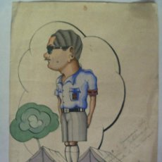 Arte: FALANGE , FRENTE DE JUVENTUDES : CARICATURA DE UN DIRIGENTE DEL FRENTE DE JAEN . 1946. Lote 60618795