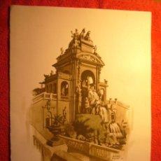 Arte: ACUARELA DE MARTINEZ BIGORDA (FUENTE DEL PARQUE DE LA CIUDADELA DE BARCELONA) (1974) (40X30 CM). Lote 60684491