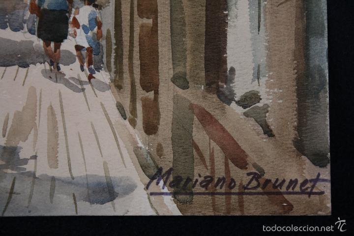 Arte: MARIANO BRUNET (VICH, BARCELONA 1918) ACUARELA SOBRE PAPEL - Foto 3 - 96000631