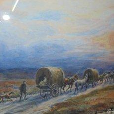 Arte: ACUARELA DE GEORGE ANDERSON SHORT 1856-1945. CAMINO A LA FERIA DE CABALLOS, MED. 51X62 CM.. Lote 61089467