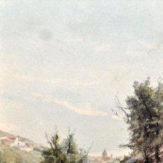 Arte: MODEST TEIXIDOR I TORRES (BARCELONA 1854-1927) ACUARELA SOBRE PAPEL. PAISAJE CON PERSONAJE. Lote 61386475