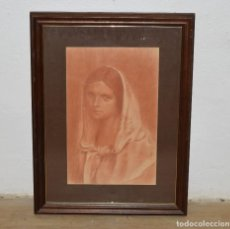Arte: ESPECTACULAR SANGUINA DE RAFAEL ESTRANY MATARÓ MARESME RETRATO DAMA O VIRGEN ENMARCADO 71 X 54 CM. Lote 71802198