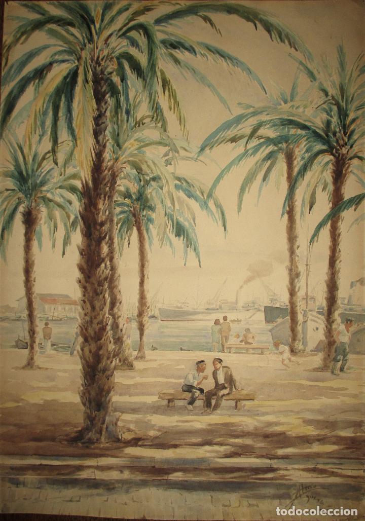 ACUARELA MOSTRANDO EL PASEO MARÍTIMO DE ALICANTE. MIDE 49 X 35 CM. AÑO 1950. (Arte - Acuarelas - Contemporáneas siglo XX)