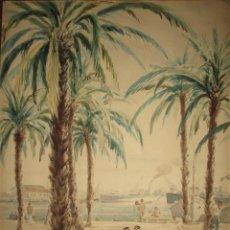 Arte: ACUARELA MOSTRANDO EL PASEO MARÍTIMO DE ALICANTE. MIDE 49 X 35 CM. AÑO 1950.. Lote 62022032
