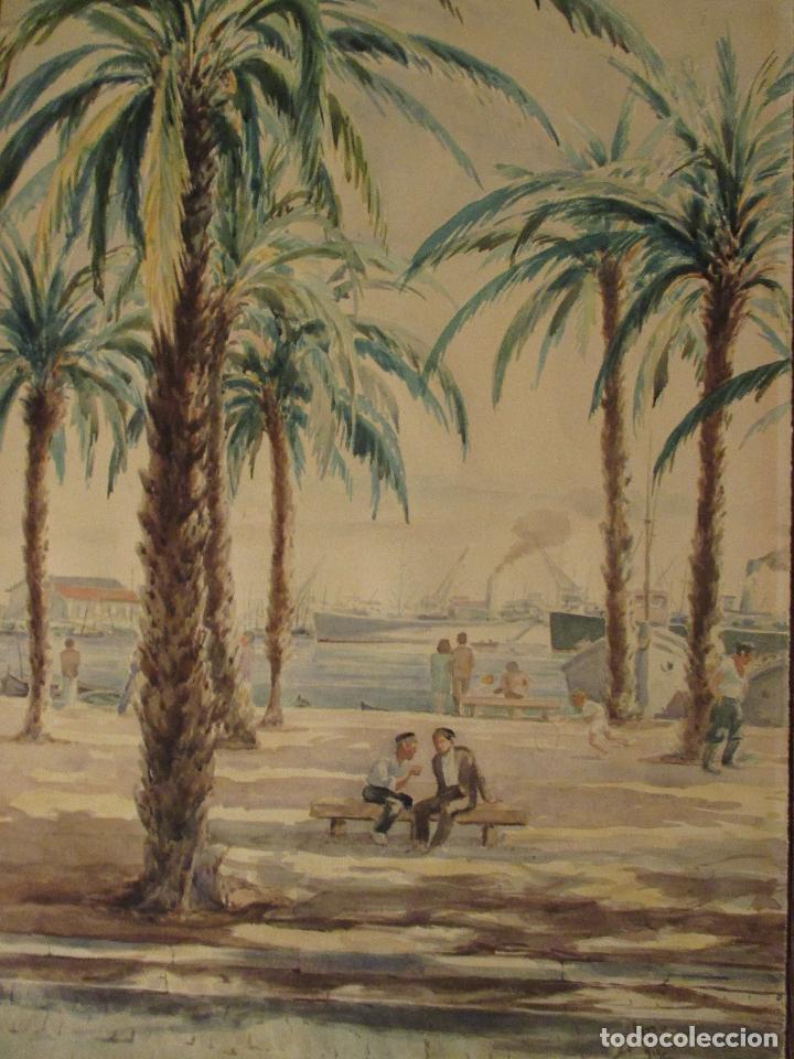 Arte: Acuarela mostrando el Paseo Marítimo de Alicante. Mide 49 x 35 cm. Año 1950. - Foto 2 - 62022032