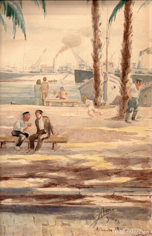 Arte: Acuarela mostrando el Paseo Marítimo de Alicante. Mide 49 x 35 cm. Año 1950. - Foto 3 - 62022032