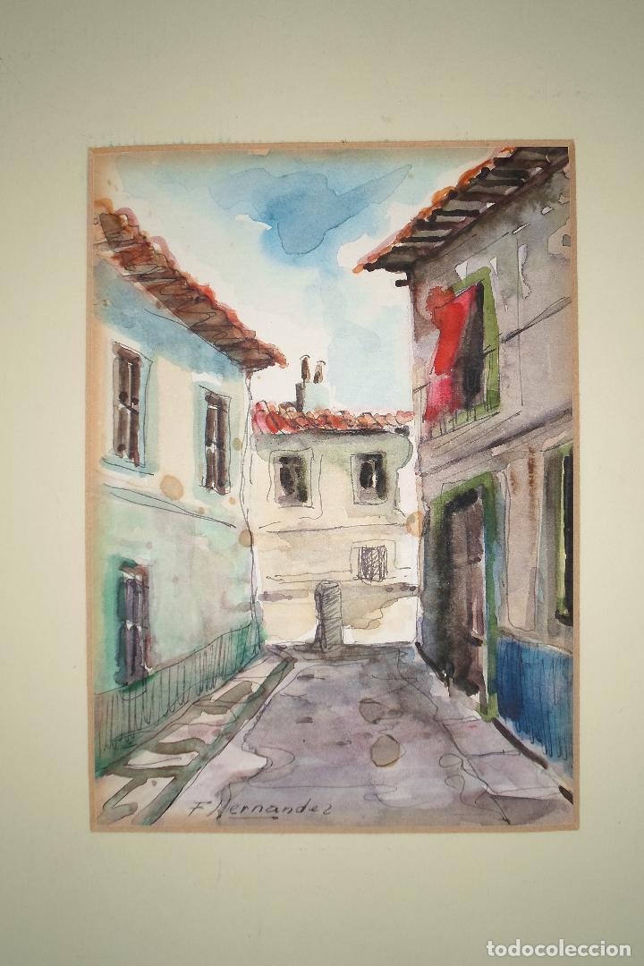 ACUARELA ORIGINAL F HERNANDEZ PINTURA ANTIGUA ALICANTINA CALLE DE ALICANTE CON PASPARTOUS GRANDE (Arte - Acuarelas - Contemporáneas siglo XX)