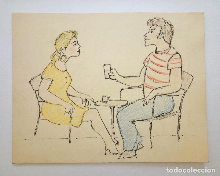 BONITO BOCETO ORIGINAL POPART, POSIBLEMENTE PARA REVISTA, FINALES DE LOS 60, VINTAGE, RETRO (Arte - Acuarelas - Contemporáneas siglo XX)