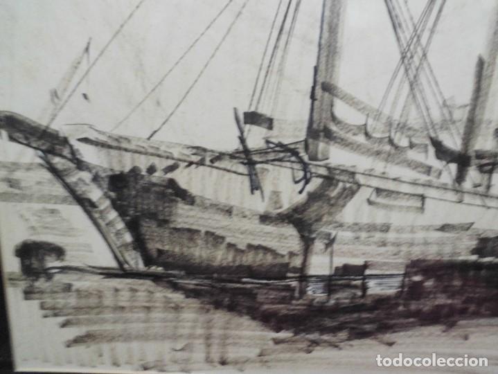 Arte: magnifica antigua gran acuarela,tema barco en puerto,firmad y fechada - Foto 2 - 62401244