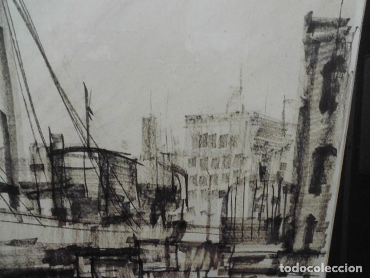 Arte: magnifica antigua gran acuarela,tema barco en puerto,firmad y fechada - Foto 3 - 62401244