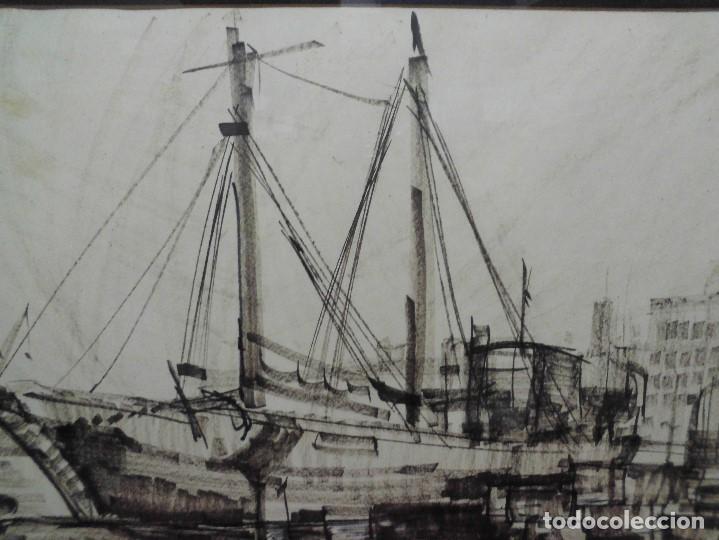 Arte: magnifica antigua gran acuarela,tema barco en puerto,firmad y fechada - Foto 4 - 62401244