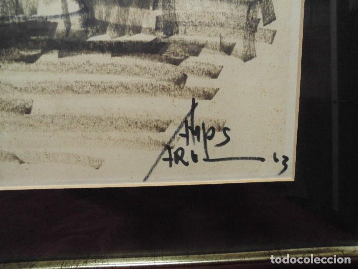 Arte: magnifica antigua gran acuarela,tema barco en puerto,firmad y fechada - Foto 5 - 62401244