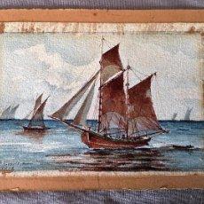 Arte: ACUARELA DE UN VELERO DE 2 MÁSTILES CON BARQUITO A REMOLQUE DE 1912. WATERCOLOR OF SAILING BOAT 1912. Lote 62513140