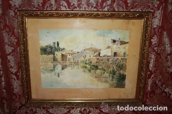E3-006. LAVANDERAS. ACUARELA. AUTOR: RAMÓN AMADO BERNADET (1844-1888). (Arte - Acuarelas - Modernas siglo XIX)