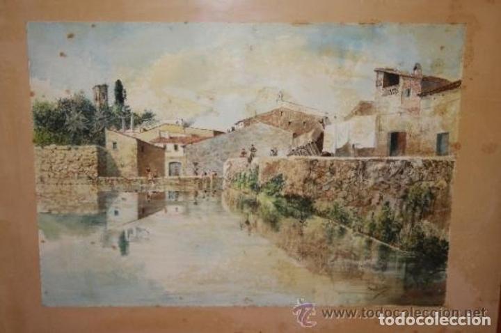 Arte: E3-006. LAVANDERAS. ACUARELA. AUTOR: RAMÓN AMADO BERNADET (1844-1888). - Foto 2 - 35681077
