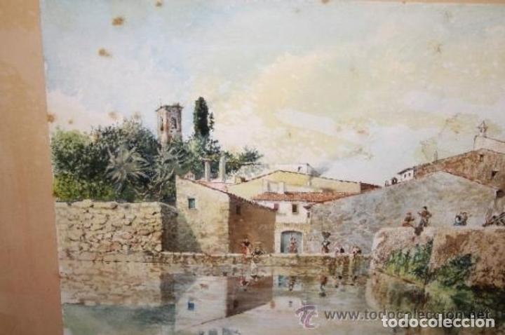 Arte: E3-006. LAVANDERAS. ACUARELA. AUTOR: RAMÓN AMADO BERNADET (1844-1888). - Foto 3 - 35681077
