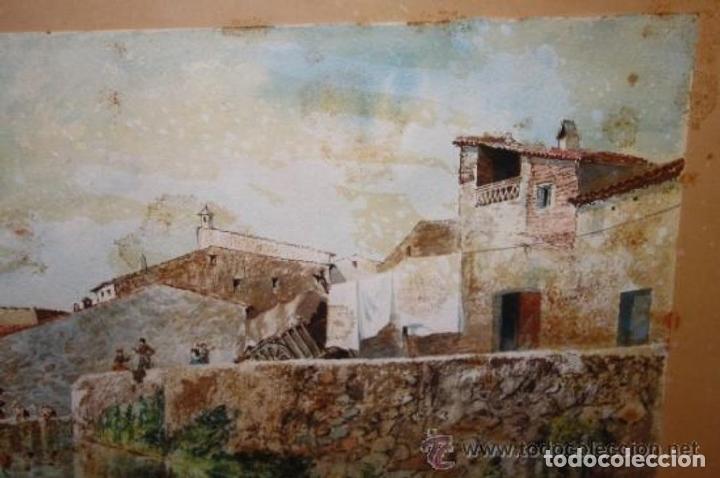 Arte: E3-006. LAVANDERAS. ACUARELA. AUTOR: RAMÓN AMADO BERNADET (1844-1888). - Foto 4 - 35681077