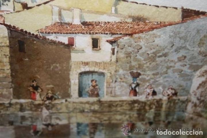 Arte: E3-006. LAVANDERAS. ACUARELA. AUTOR: RAMÓN AMADO BERNADET (1844-1888). - Foto 7 - 35681077