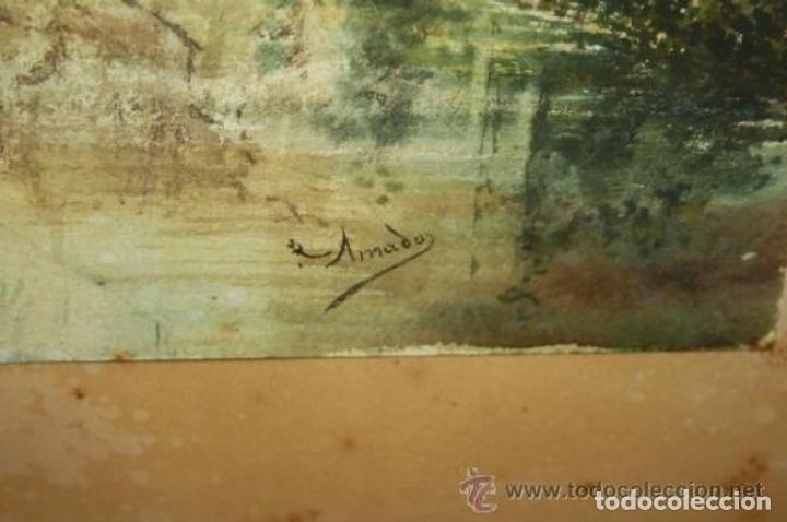 Arte: E3-006. LAVANDERAS. ACUARELA. AUTOR: RAMÓN AMADO BERNADET (1844-1888). - Foto 14 - 35681077