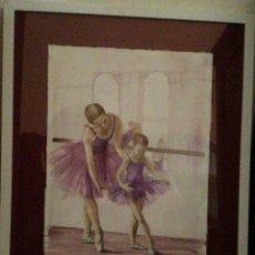 Arte: CLASES DE BALLET. ACUARELA. 35X50. ENMARCADO.. Lote 63651271