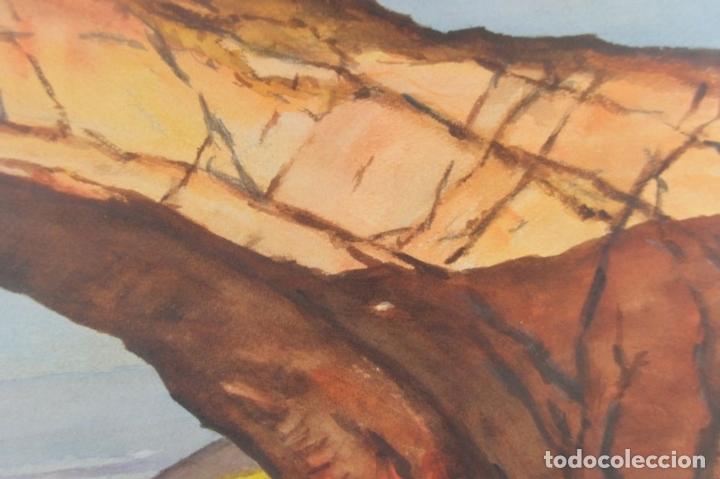 Arte: A3-011- FERNANDO M. NADAL. ACUARELA SOBRE PAPEL.PUENTE NATURAL DE UTHA. ESTADOS UNIDOS. MED. S XX. - Foto 2 - 44154533