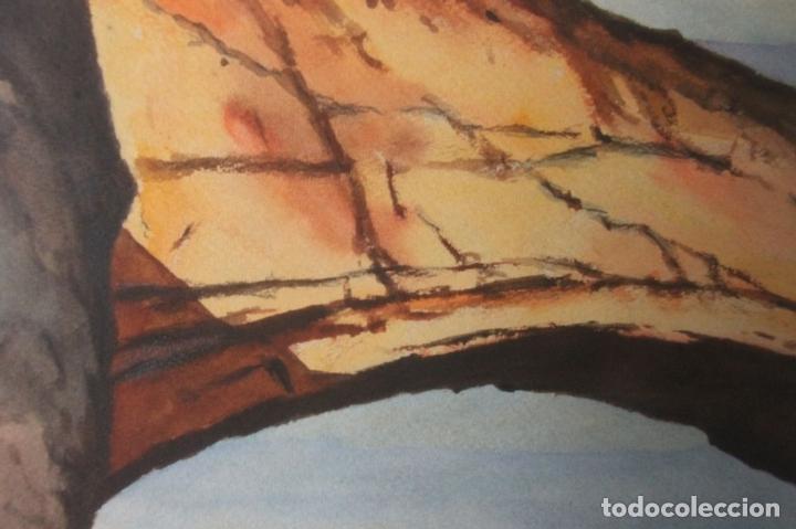 Arte: A3-011- FERNANDO M. NADAL. ACUARELA SOBRE PAPEL.PUENTE NATURAL DE UTHA. ESTADOS UNIDOS. MED. S XX. - Foto 7 - 44154533