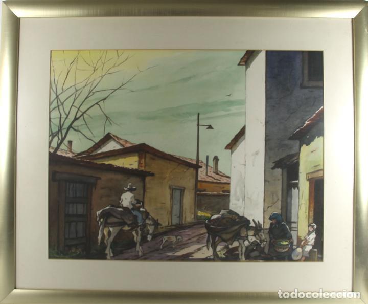 C4-015. FERNANDO M. NADAL. DIBUJO A LA ACUARELA. UN RINCON SIN IMPORTANCIA. 1985. (Arte - Acuarelas - Contemporáneas siglo XX)